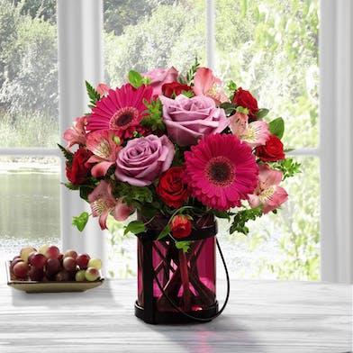 Pink Flowers in a Pink Lantern Vase