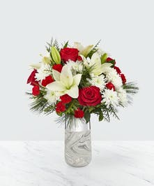 Marbled Vase with White Lily, Red Roses and Holiday Greens