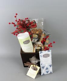 Holiday Chocolate Gift Basket with chocolates, nuts, pretzels
