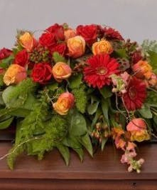 Casket Spray with Red and Orange Flowers