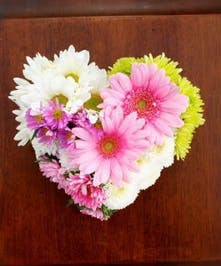 Heart Pillow with a spring color flower display