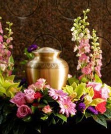 Urn Wreath with mixed garden flowers