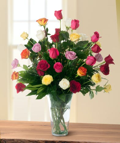 36 Assorted Color Roses in a Vase