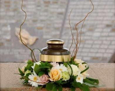 Urn Wreath with pastel roses and flowers