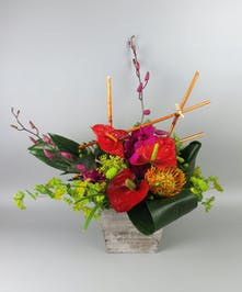 Tropical Design with anthurium and orchids