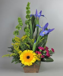 Iris and Spring Flowers in a rustic box