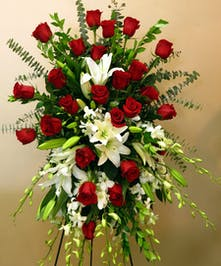 Standing Spray with white lilies and red roses