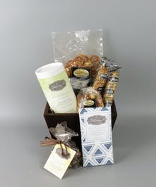 Chocolate Celebration Gift Basket with chocolates, nuts, pretzels