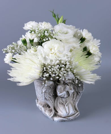 Keepsake Angel Container with all white flowers