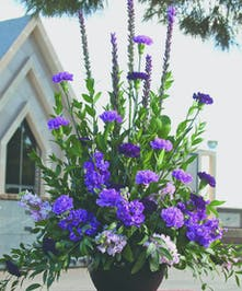 Sympathy Bouquet with purple and lavender flowers