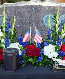 Urn Tribute in red, white and blue flowers