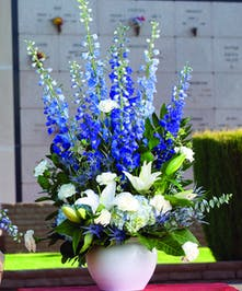 Sympathy arrangement with blue and white flowers