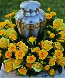 Urn Wreath with yellow roses