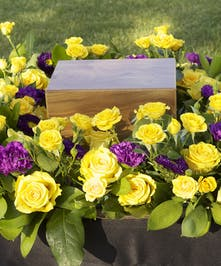 Urn Wreath with yellow roses and purple flowers , square shaped