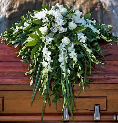 Casket Spray with white orchids