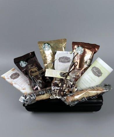 Basket with Starbucks coffee and dark chocolates