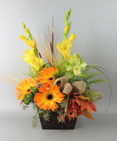 Fall Design with Gerbera Daisy and Gladiolas