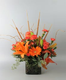 Vase of Fall Colors with Lily and Chrysanthemums