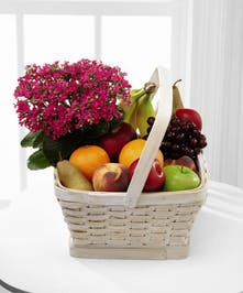 Fruit Basket with fruit and potted blooming plant