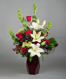 Modern Love Rose & Lily Bouquet in a red vase