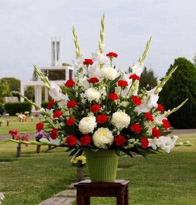 Tall Sympathy Basket with white and red flowers