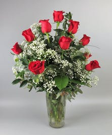 Classic Red Roses in Vase with Lush Assorted Greenery
