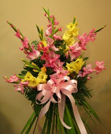 Standing Spray with Pastel spring color gladiolas