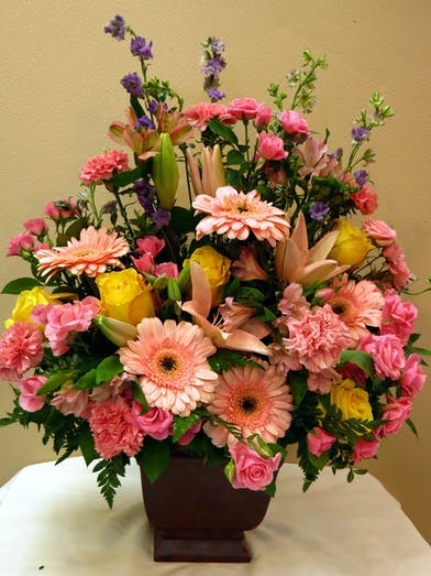 Sympathy Basket with Spring Garden Mix Flowers