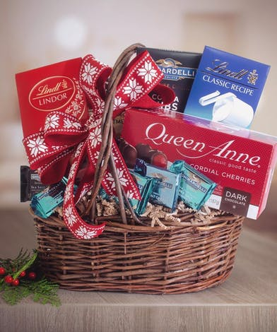 Chocolate Treats in a basket with holiday decor