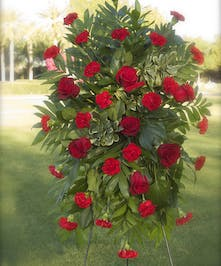 Standing Spray with  red roses and red carnations