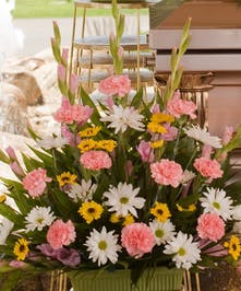 Sympathy Basket with Pink and Yellow Flowers