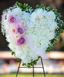Sympathy Heart Easel with all white carnations with pink roses