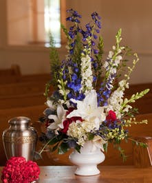Sympathy Arrangement in Patriotic Colors of Flowers