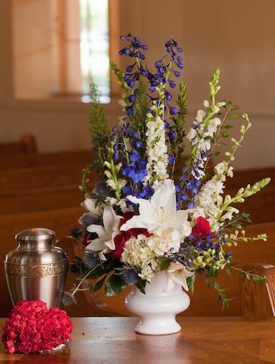 Sympathy Arrangement in Patriotic Colors of Flowers