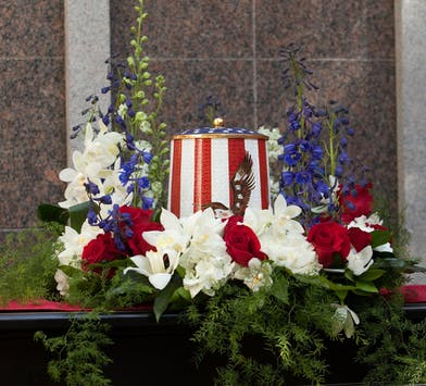 Urn Wreath in red white and blue colors