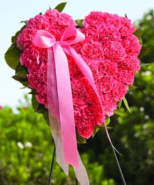 Pink Heart of Pink Carnations and a Pink Ribbon