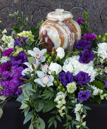 Urn Wreath with white and purple flowers