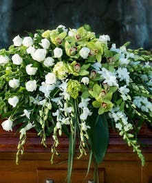 Casket Spray with all white and green flowers