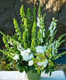Sympathy Arrangement with all white and green flowers