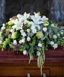 Casket Spray with all green and white flowers