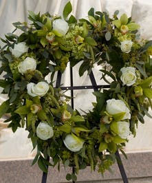 Heart with roses and orchids in green and white