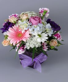Garden Flowers in a Cube Vase