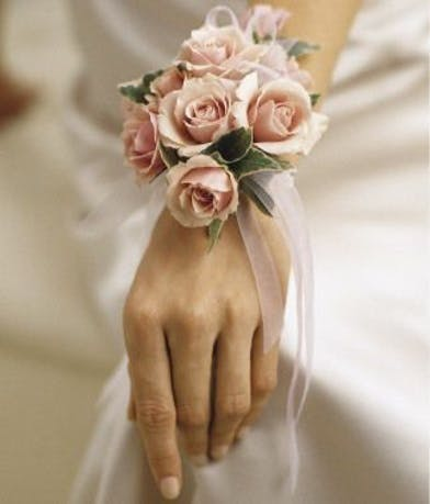 Light PInk Rose Corsage with Ribbons
