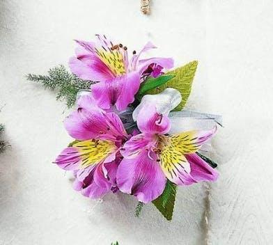 Pink alstroemeria corsage