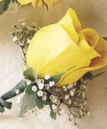 Yellow Rose Boutonniere with Baby's Breath
